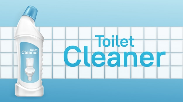 Toilet cleaner banner with liquid detergent bottle