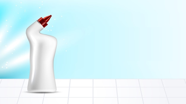トイレクリーナーブランクパッケージコピースペースベクトル。トイレのタイルの上に立っている衛生トイレクリーナー化学液体ボトル。消毒消毒化学製品テンプレートリアルな3dイラスト