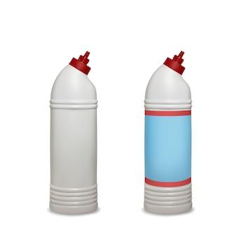 화장실 위생을위한 흰색 플라스틱 병 패키지의 화장실 청소기 그림