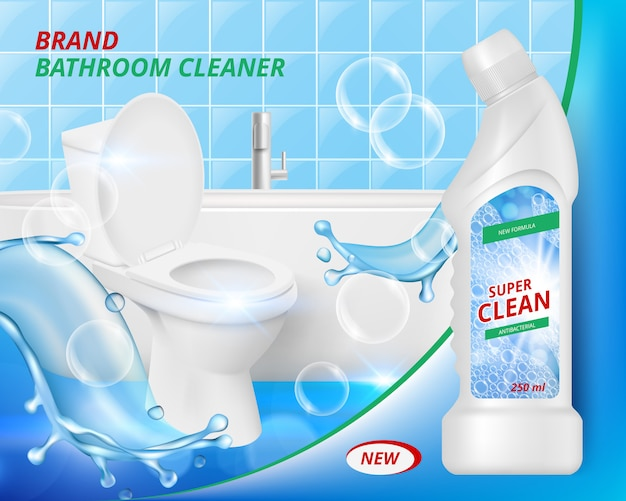 Toilet detergent cleaner. bathroom soap liquid washing clean of ceramic sink advertizing realistic placard template
