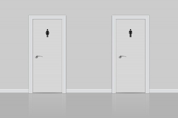Туалетные двери для мужчин и женщин.