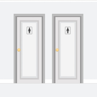 Toilet doors for men and women with gender icons