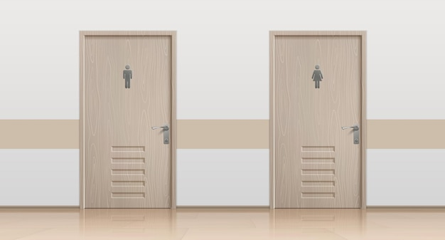 Toilet doors. realistic interior mockup with closed bathroom doors for men and women visitors. vector toilet entrance with placing signs public wc Premium Vector