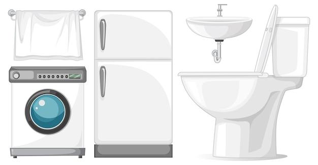 白い背景の上のインテリアデザインのトイレ家具セット