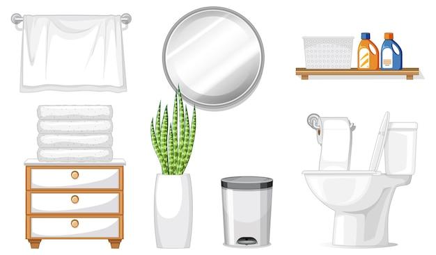 Toilet furniture set for interior design on white background