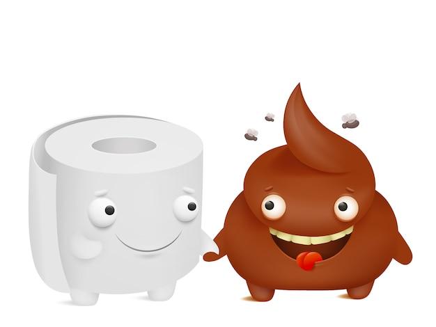 Toilet paper and poop cartoon emoji characters best friends
