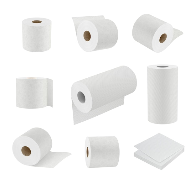Toilet paper realistic. hygiene symbols soft towel cylinder sanitary paper vector 3d templates. illustration toilet paper roll, tissue and towel for hygiene bathroom