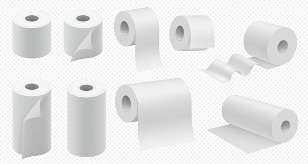 Toilet paper roll. toilet tape and kitchen paper towel template. realistic hygiene tissue package  . paper napkins tube illustration