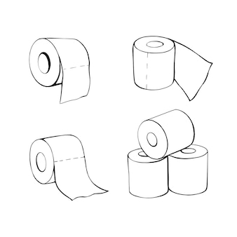 Toilet paper rolls in the doodle style. hand-drawn toilet paper. illustration isolated on white.a set of toilet paper