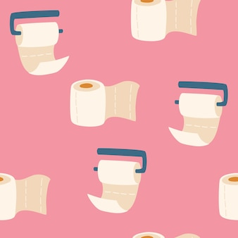 Toilet paper seamless pattern. hand draw toilet paper rolls. for wrapping paper, foliage, textile, prints. cartoon vector illustration isolated on pink background.