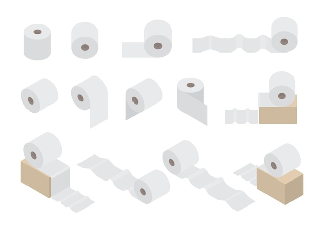 Toilet paper set. hygienic product for the toilet. flat isometric style. roll of white paper. vector illustration.