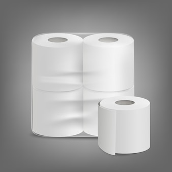 Toilet paper unlabeled packaging realistic   illustration isolated.