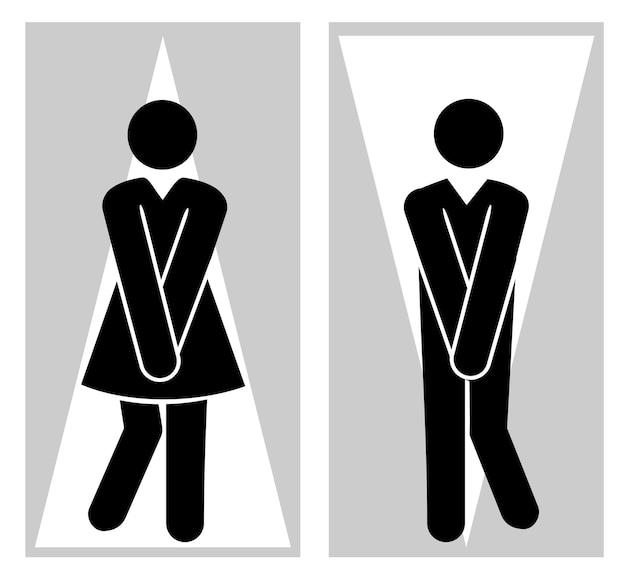 女の子と男の子のためのトイレのピクトグラム面白いトイレのカップルは必死の放尿女性男性トイレの兆候