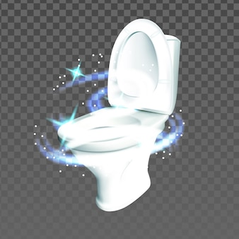 Toilet restroom sanitary hygienic equipment vector. lavatory clean ceramic toilet with magic sparkles. wc bathroom interior porcelain tool with water tank template realistic 3d illustration