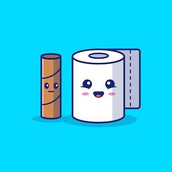 Toilet tissue cartoon   icon illustration.