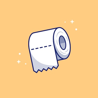 Toilet tissue paper roll   icon illustration. healthcare and medical icon concept isolated