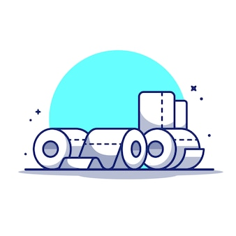Toilet tissue paper roll   icon illustration.