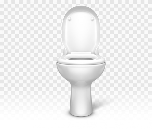 Toilet with seat. white ceramic lavatory bowl