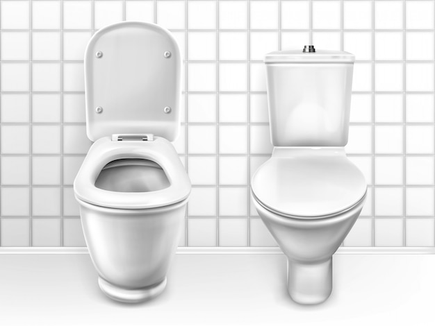 Toilet with seat, white ceramic lavatory bowls