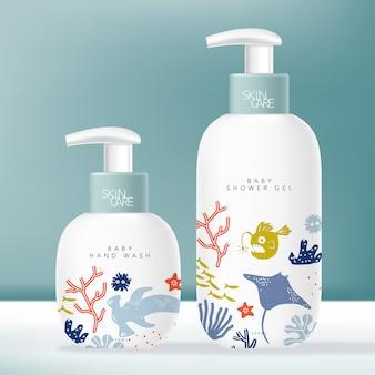 美容またはスキンケア製品のトイレタリーディスペンサーボトル。子供または子供水中世界テーマパターン。