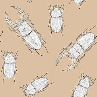 Tokara red stag beetle (prosopocoilus dissimilis) in tokara island, japan. hand draw sketch seamless pattern vector. male and female.