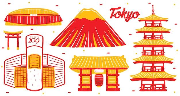 Достопримечательность города токио в стиле плоского дизайна