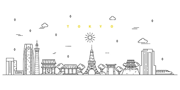 Tokyo city. modern flat line landscape vector. city line art illustration with building, tower, skyscrapers.