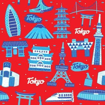 Токио город бесшовные модели с элементами достопримечательностей