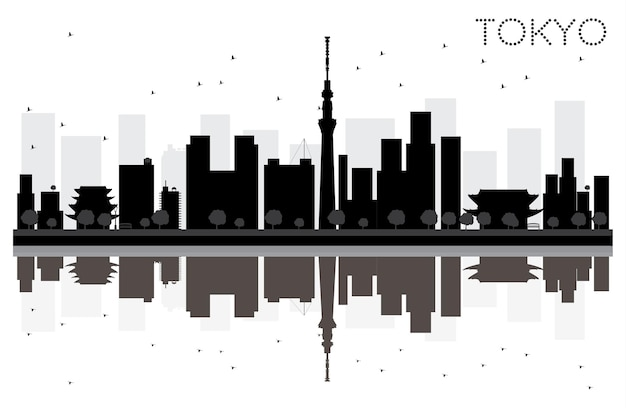 Tokyo city skyline black and white silhouette with reflections. vector illustration. simple flat concept for tourism presentation, banner, placard or web site. cityscape with landmarks.