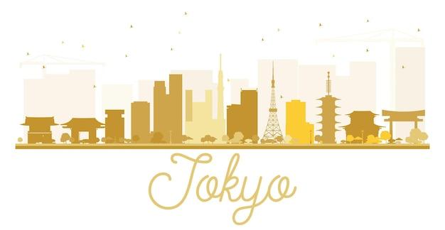 東京市のスカイラインの黄金のシルエット。ベクトルイラスト。観光プレゼンテーション、バナー、プラカードまたはwebサイトのシンプルなフラットコンセプト。出張の概念。ランドマークのある街並み