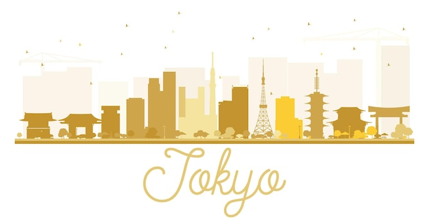 Tokyo city skyline golden silhouette. vector illustration. simple flat concept for tourism presentation, banner, placard or web site. business travel concept. cityscape with landmarks