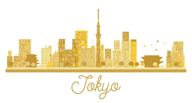 Tokyo city skyline golden silhouette. vector illustration. simple flat concept for tourism presentation, banner, placard or web site. tokyo isolated on white background.