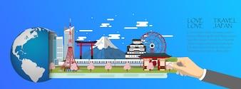 Tokyo infographic, global  with landmarks of Japan
