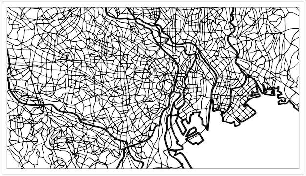 白黒の東京日本都市地図。手で書いた。ベクトルイラスト。