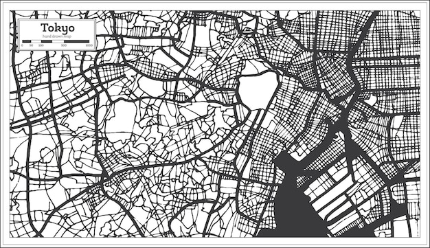 レトロなスタイルの東京日本都市地図。白地図。ベクトルイラスト。
