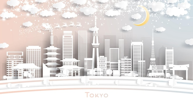 雪片、月、ネオンガーランドのペーパーカットスタイルの東京ジャパンシティスカイライン。ベクトルイラスト。クリスマスと新年のコンセプト。そりのサンタクロース。
