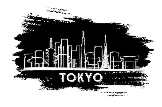 東京ジャパンシティスカイラインシルエット。手描きのスケッチ。ベクトルイラスト。近代建築とビジネス旅行と観光の概念。ランドマークのある東京の街並み。