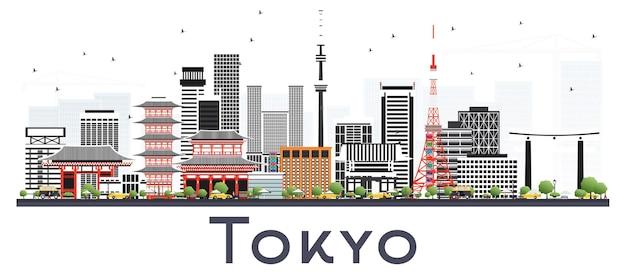白で隔離された色の建物と東京日本都市のスカイライン。ベクトルイラスト。近代建築とビジネス旅行と観光の概念。ランドマークのある東京の街並み。