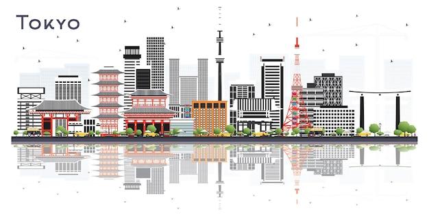 흰색 절연 색상 건물 도쿄 일본 도시의 스카이 라인. 벡터 일러스트 레이 션. 현대 건축과 비즈니스 여행 및 관광 개념입니다. 랜드마크가 있는 도쿄 도시 풍경.