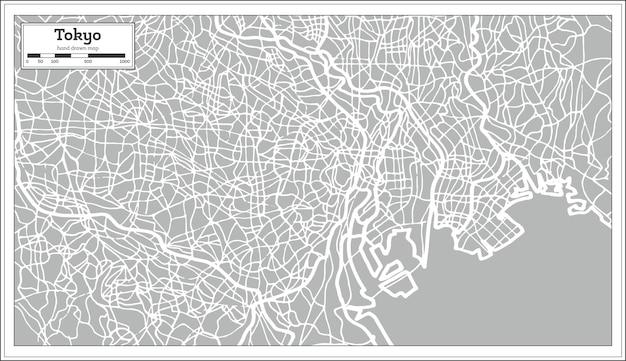 レトロなスタイルの東京地図。手で書いた。ベクトルイラスト。