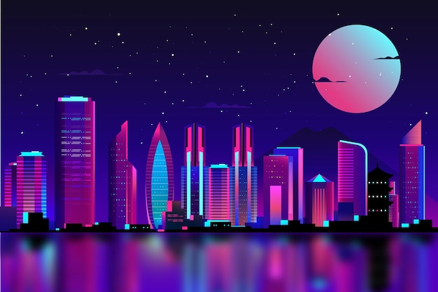 Tokyo in neon lights with full moon