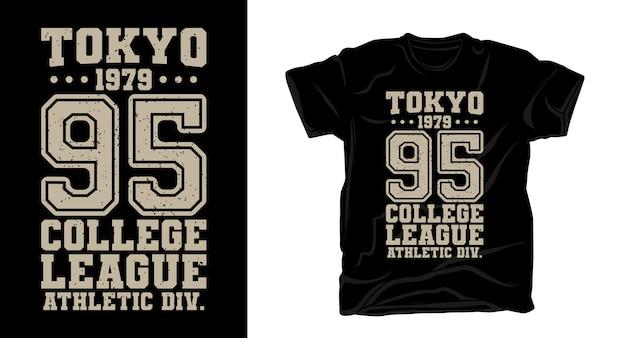 Токио девяносто пять университетская типография дизайн футболки