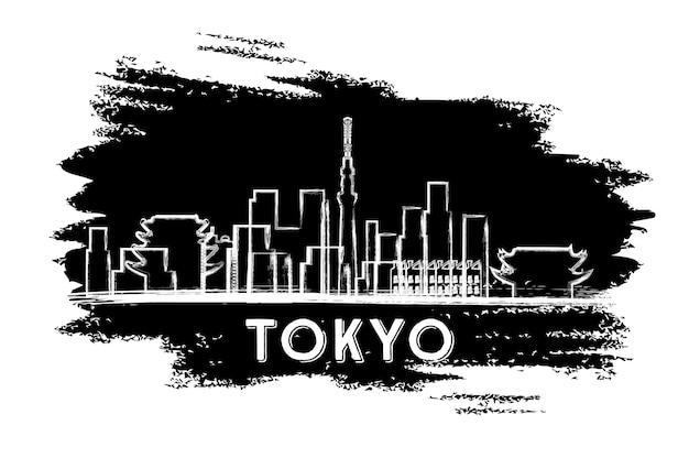 東京のスカイラインのシルエット。手描きのスケッチ。ベクトルイラスト。近代建築とビジネス旅行と観光の概念。プレゼンテーションバナープラカードとwebサイトの画像。