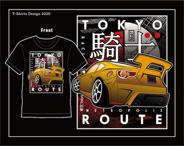 Tokyo speed route,vector car typography illustration design