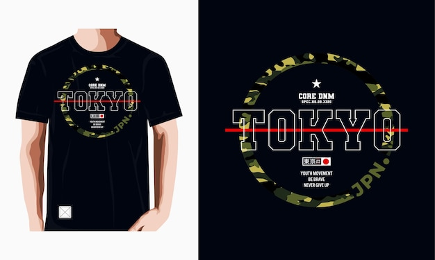 Токио типография футболка дизайн иллюстрация повседневный стиль premium векторы