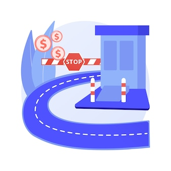 Toll road abstract concept vector illustration. tollway fee, express toll lane, paid highway, main road, motorway entrance pass card, charge collector, enter control point abstract metaphor.