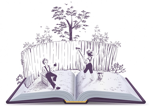 Tom sawyer paints fence open book illustration