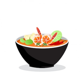 Tom yum kung in bowl