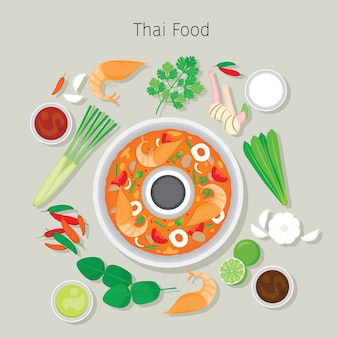 Tom yum kung and ingredients, thai soup food