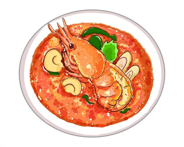 白い背景に分離されたおいしいタイ料理とトムヤムクンまたはスパイシーな酸っぱいスープ。